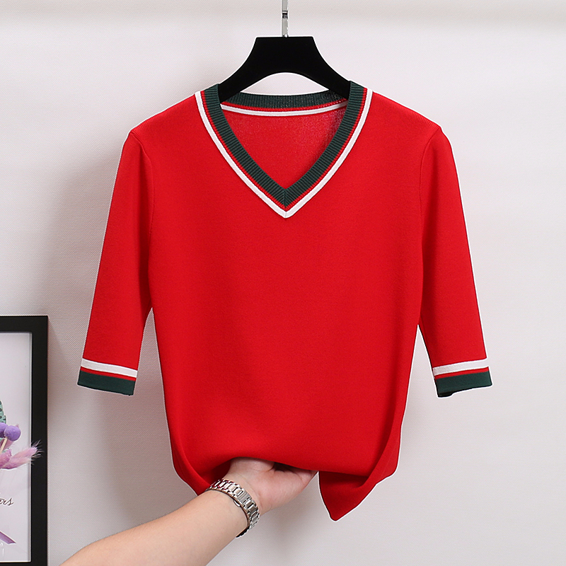 V-neck Patchwork Knitted Sweater Women Half Sleeve Slim Pullover Modis Sweaters Basic Top 2020 Spring And Summer New Arrival