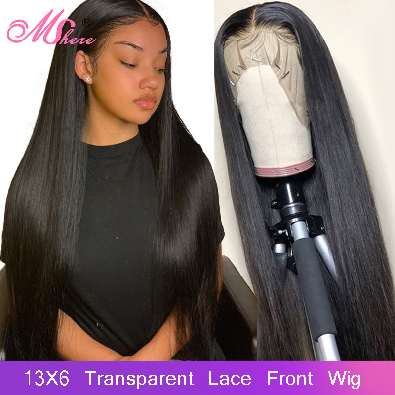 Mshere 13x6 Transparent Lace Frontal Wigs Human Hair Wigs With Baby Hair Straight Hair Wig Pre Plucked Black Peruvian Remy Hair