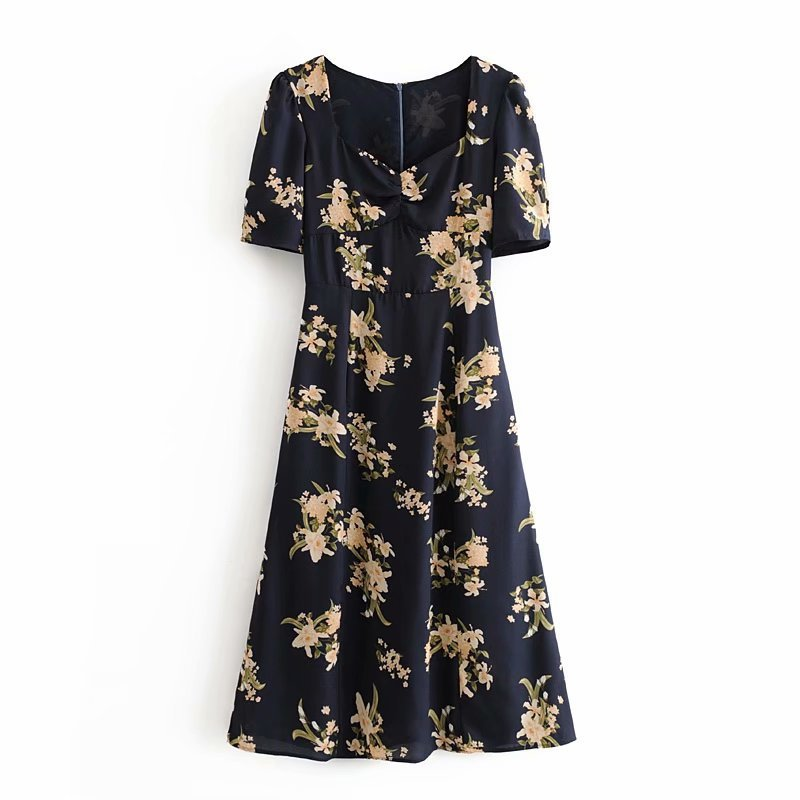 2020 Women's Clothing French Print Short-Sleeve Dress Women Sexy Club Dresses Elegant Summer Party clothes Vestidos