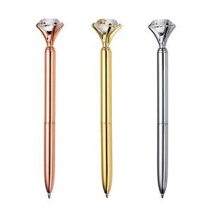 Image 2 - Stylo à bille luxueux en cristal, 14cm de Long avec gaufrette en métal, 100mm, stylo à bille bleu, cadeau pour étudiant, 0.7 pièces