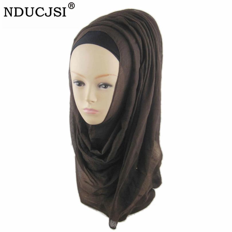 NDUCJSI Muslim Hijabs women Plain Chiffon Long Hijab   Scarf     Wrap   Solid Color Headscaf Shawls Headband   Scarves   Head Cover 180*60cm