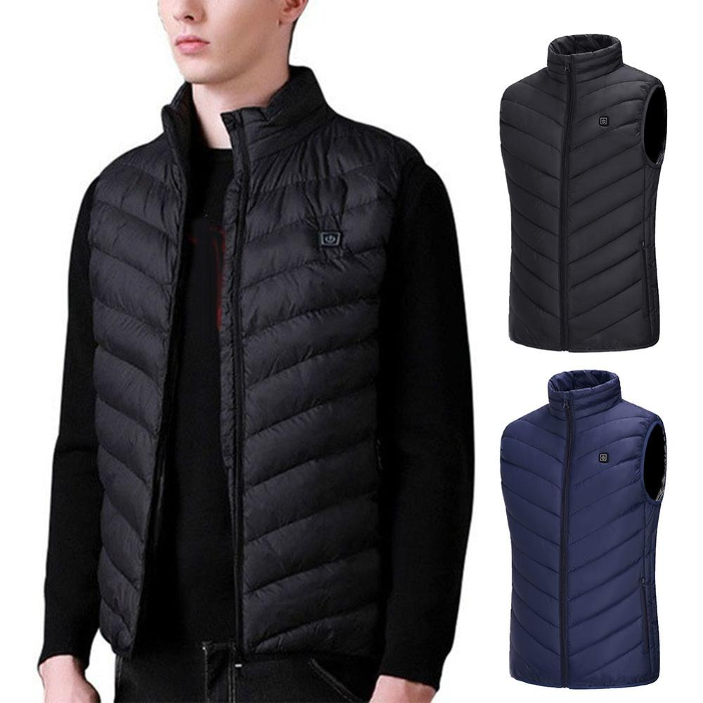 USBElectric Heating Vest Jacket Winter Men's Stand-up Collar Thickened Warm Down Cotton Jacket Vest Plus Size Casual Cotton Vest