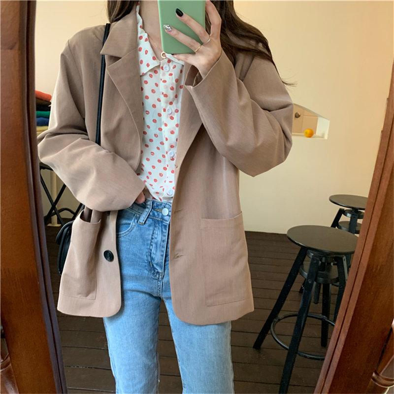 HziriP Khaki Loose OL Gentle Brief Chic 2019 Fashion Autumn All Match Casual Women Elegant Office Ladies Full-Sleeved Blazers