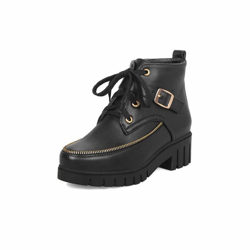 MORAZORA 2020 yeni yarım çizmeler kadınlar vintage kalın kürk kışlık botlar toka lace up yuvarlak ayak düşük topuklu platform ayakkabılar kadın