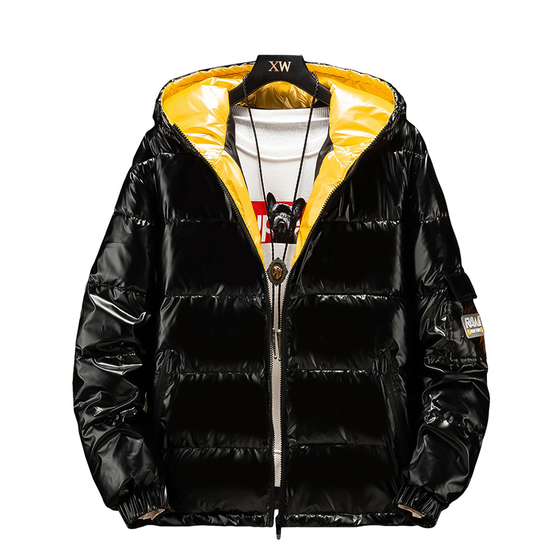 2019 Men's Down Cotton Jacket Coat Winter Man Glossy Silver/Black/Gold  Hooded Parka Outwear Down Padded Coats Male