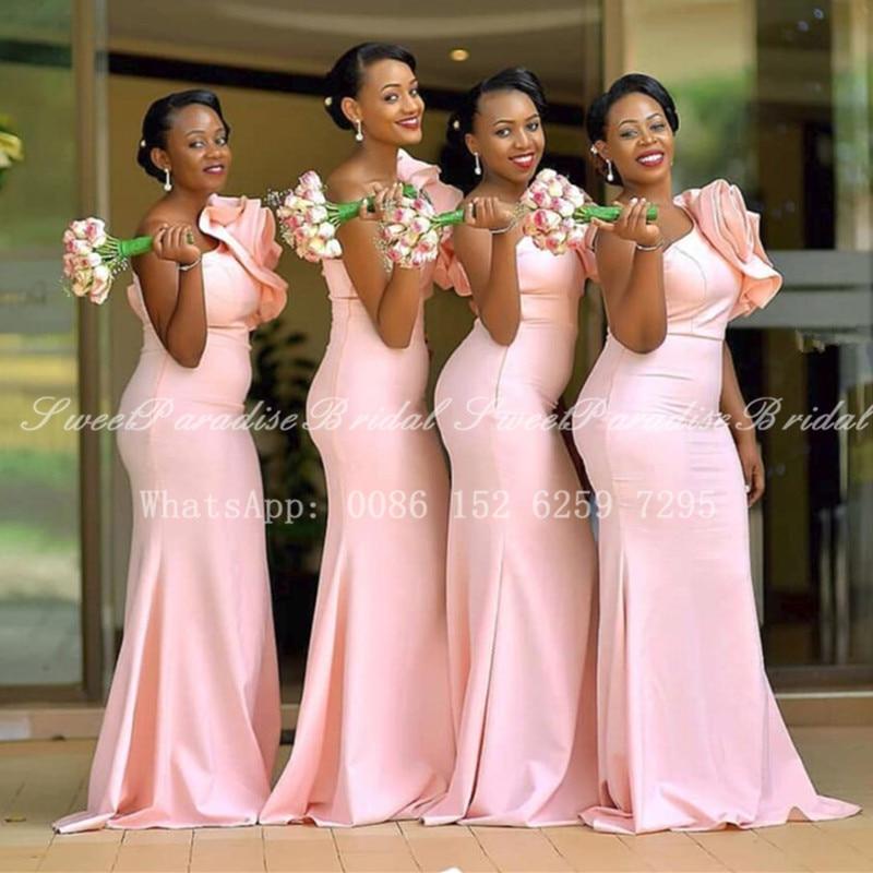 Vestidos de Dama de Honra com Flor Vestido de Festa de Casamento Preço por Atacado Ombro Rosa Nigéria Africano Longo Sereia um 2020