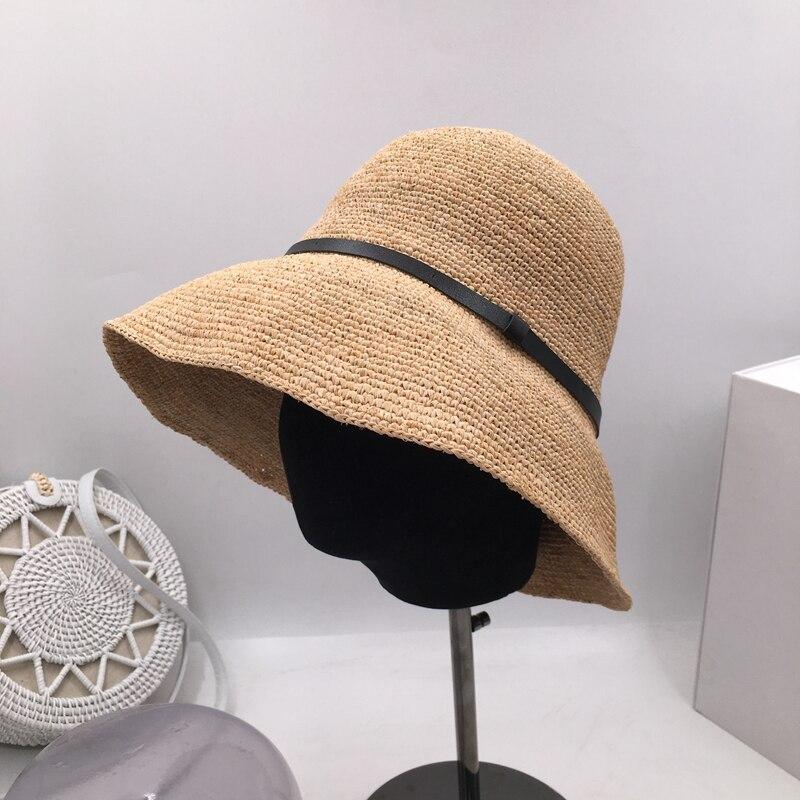 Шляпа для рыбаков, женская летняя шляпа с большими карнизами, праздничная Солнцезащитная шапка, вязаная крючком, lafite, шляпа для бассейна, складная соломенная шляпа