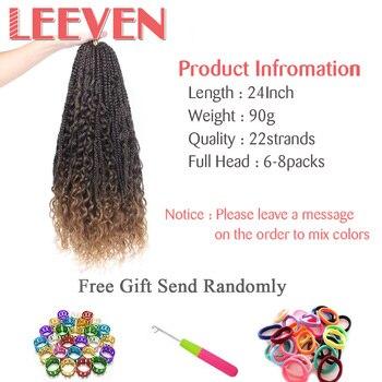 Leeven Messy Goddess Box Braids Hair Synthetic Crochet Hair Bohemian Hair With Curls 24inch Boho Braided Hair Extension 1