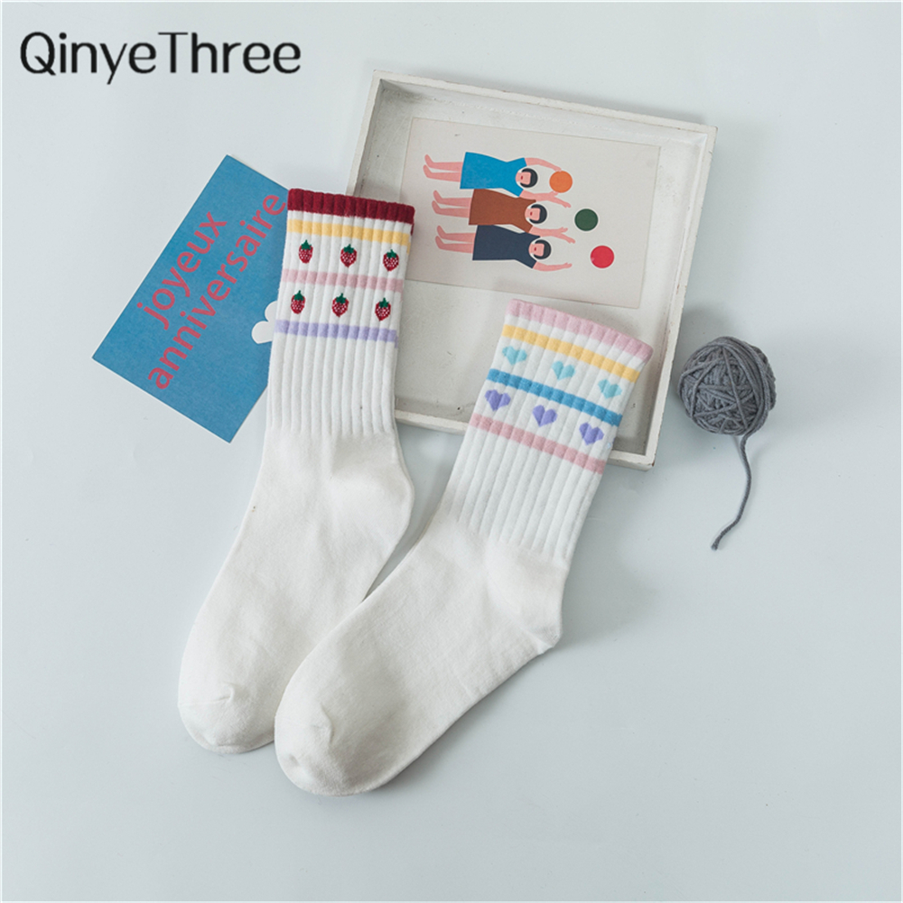 Lovely Girls Candy Color Stripes With Cartoon Heart Fruit Socks Funny Strawberry Soft Cotton Winter Crew Christmas Gift