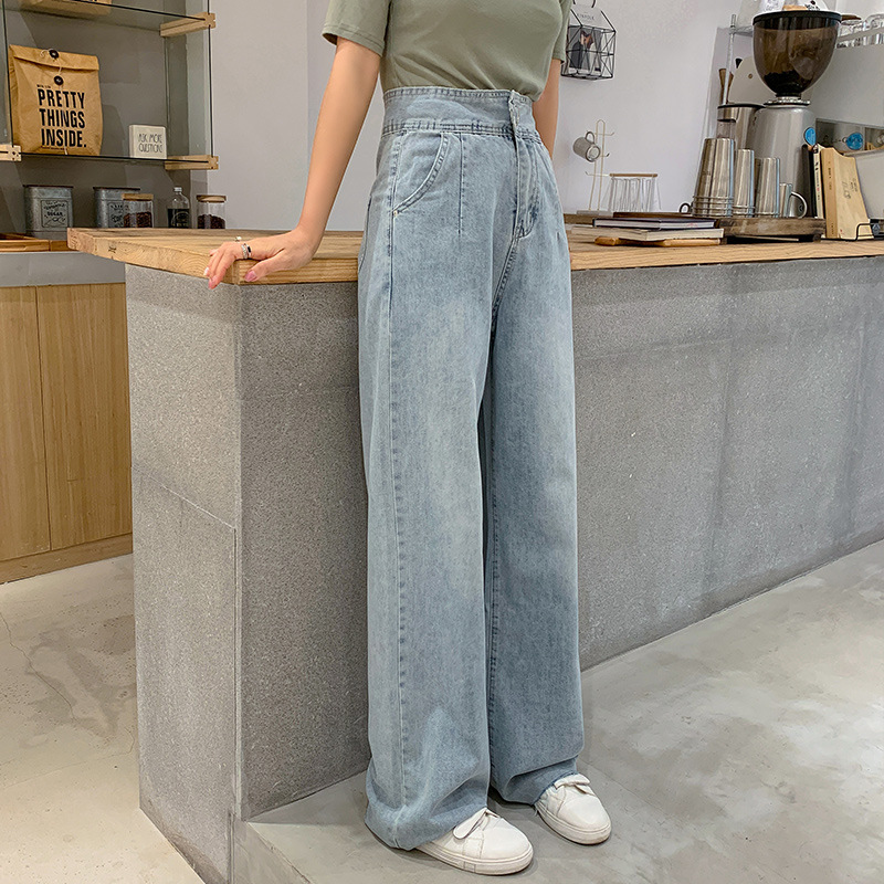High-waisted Drape Loose Pants Women's 2019 Summer Thin Loose Straight Mopping Wind Dad Hyuna Jeans