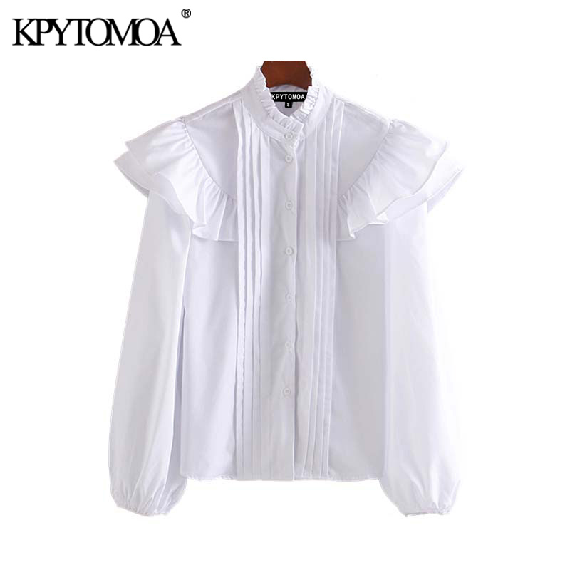 Vintage Sweet White Pleated Blouses Women 2020 Fashion Ruffled Collar Long Sleeve Female Shirts Blusas Chic Tops
