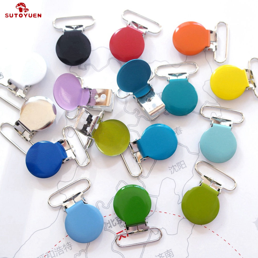 Sutoyuen 20pcs 1'' 25mm Wide Colored Metal Enamel Round Shaped Suspender Clips Baby Dummy Soother Nipple Pacifier Clips Holders