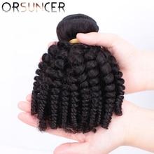 ORSUNCER Brazilian Afro Funmi Hair Non-Remy Human Hair Weaves 1/3/4 Bouncy Curly Bundles Natural Color Medium Ratio