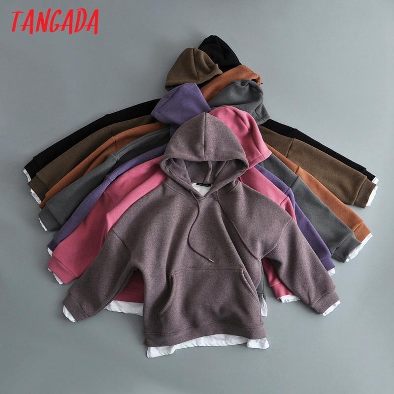 Tangada women woolen hoodie sweatshirts inside Lalambswool warm pocket 2020 winter oversize female patchwork hooded tops 7M1 1