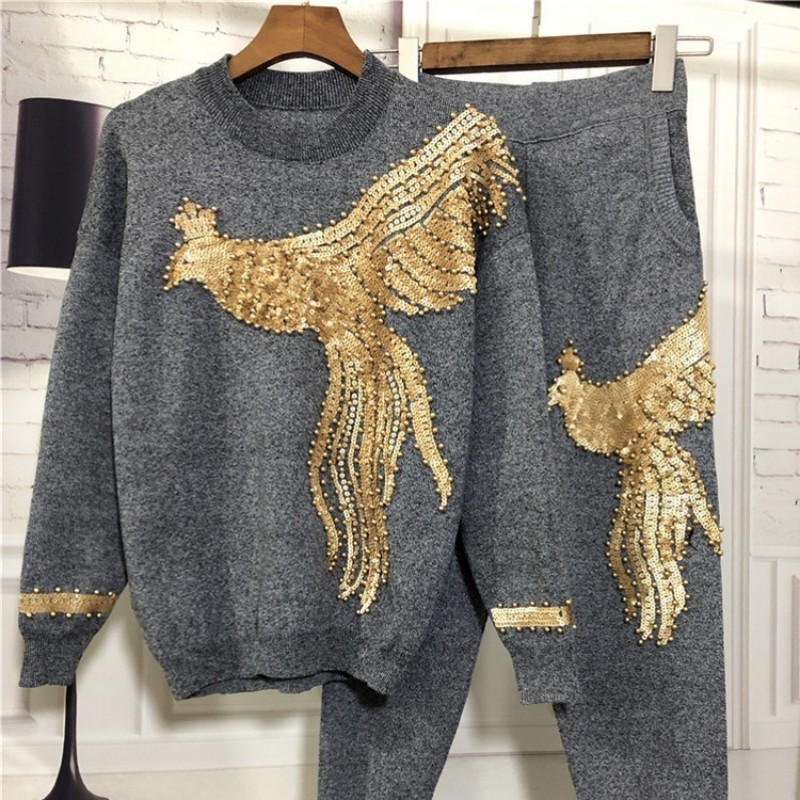 2020 Women Winter Beading Sequined Pattern Long Sleeve Knitted Pullover Tops Trousers 2 Pieces Sets Clothing Fashion Streetwear