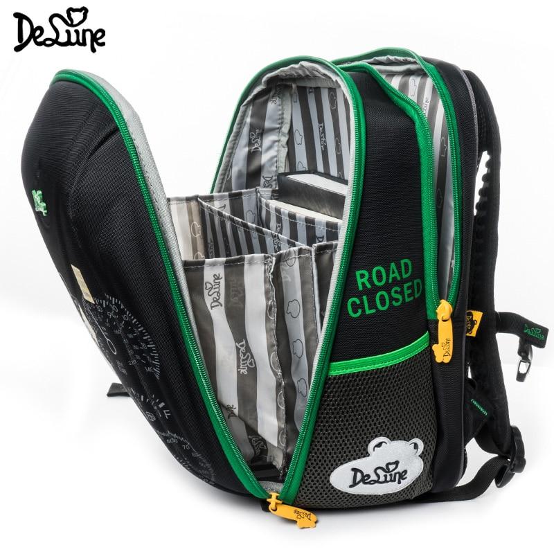 Delune Brand Orthopedic School Bag for Children Boys Four wheel Drive Cars Print Backpack Speed SUV