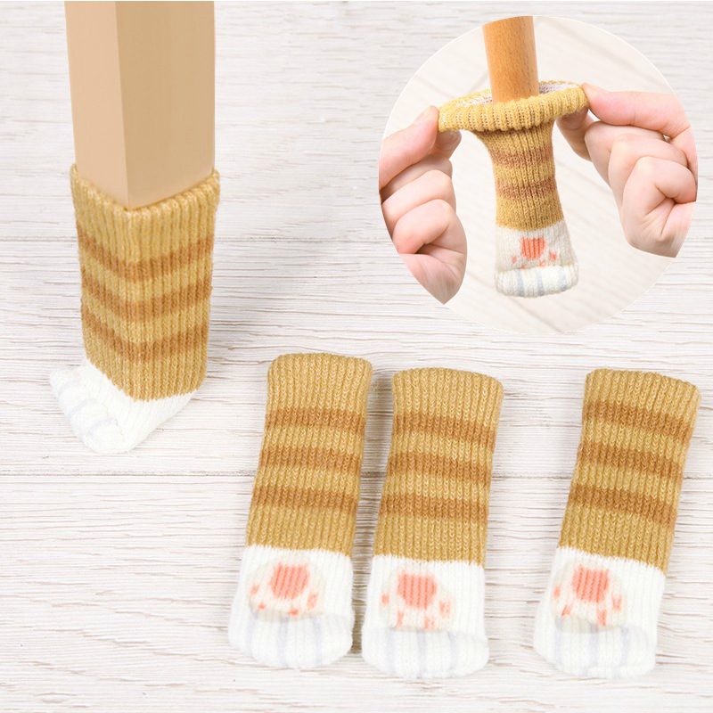 4pcs Chair Leg Table Foot Cover Knitted Cat Paw Non-Slip Socks Floor Protector Table Chair Mute Cover Home Furniture Foot Sleeve