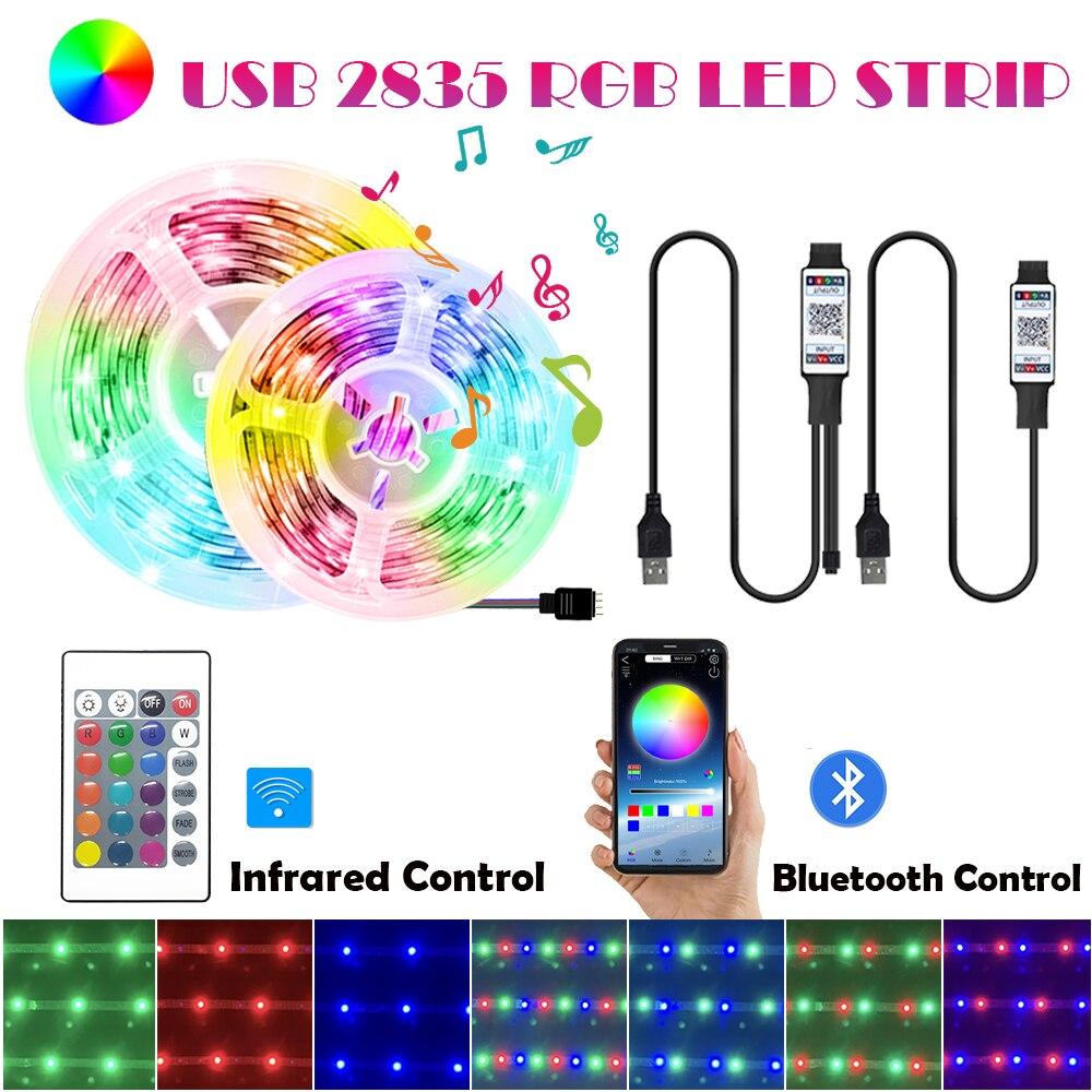 Цветная (RGB) 5В USB 2835 Светодиодный светильник полоски Bluetooth Управление инфракрасный гибкие светодиодные ленты диода декоративный фон лампа Т...