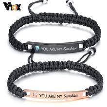 Бесплатная Персонализированная пара браслетов vnox для женщин