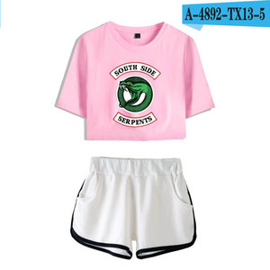 Image 2 - Fashion  American TV Riverdale Women Sexy Summer T Shirt  Woman New Suit Shorts Crop Fashion Top Shorts Two Piece Set