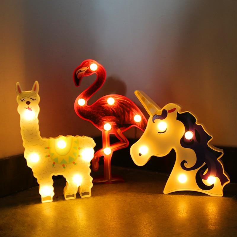 Mini 3D Unicorn/Flamingo/Llama Night Lamp LED Lights Desktop Bedroom Table Battery Lights For Home Birthday Party Supplies Light