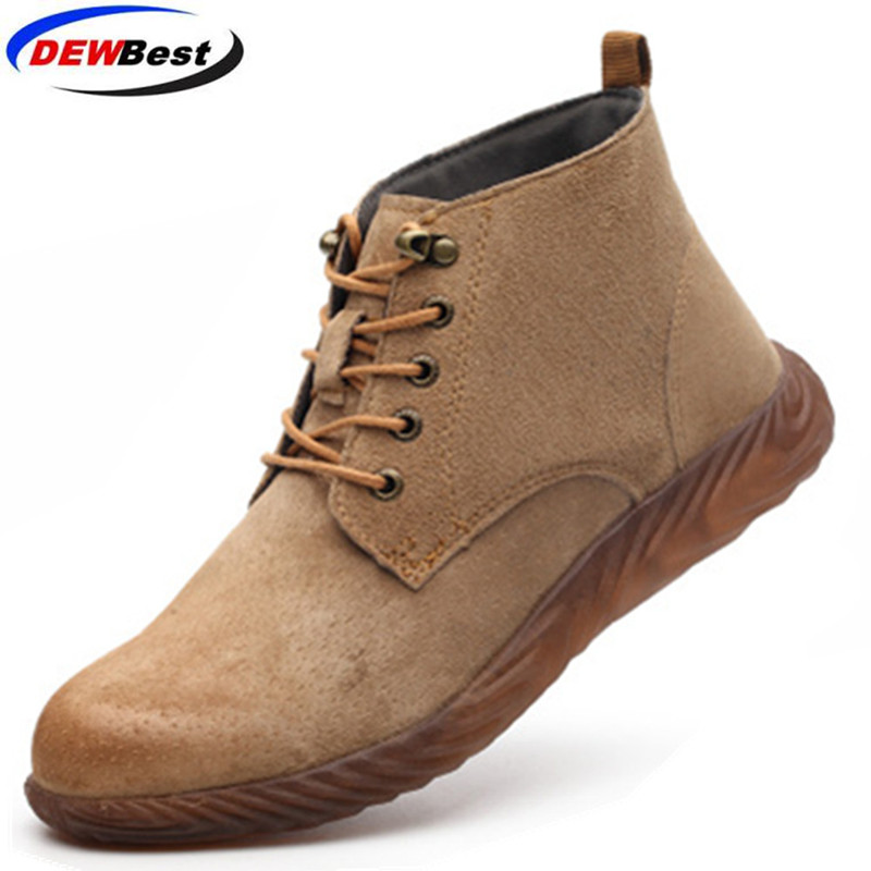 Cowhide Steel Toe Safety Work Shoes Men Breathable Slip On Casual Boots Mens Labor Insurance Puncture Proof Shoe