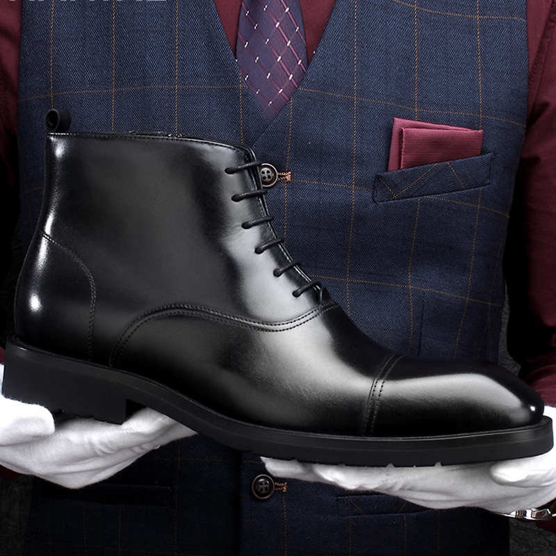 New Arrival Genuine Leather Men's Handmade Ankle Boots Square Toe Laces Cap Toe Oxfords Formal Dress Handmade Man Shoes HKN194 - 3