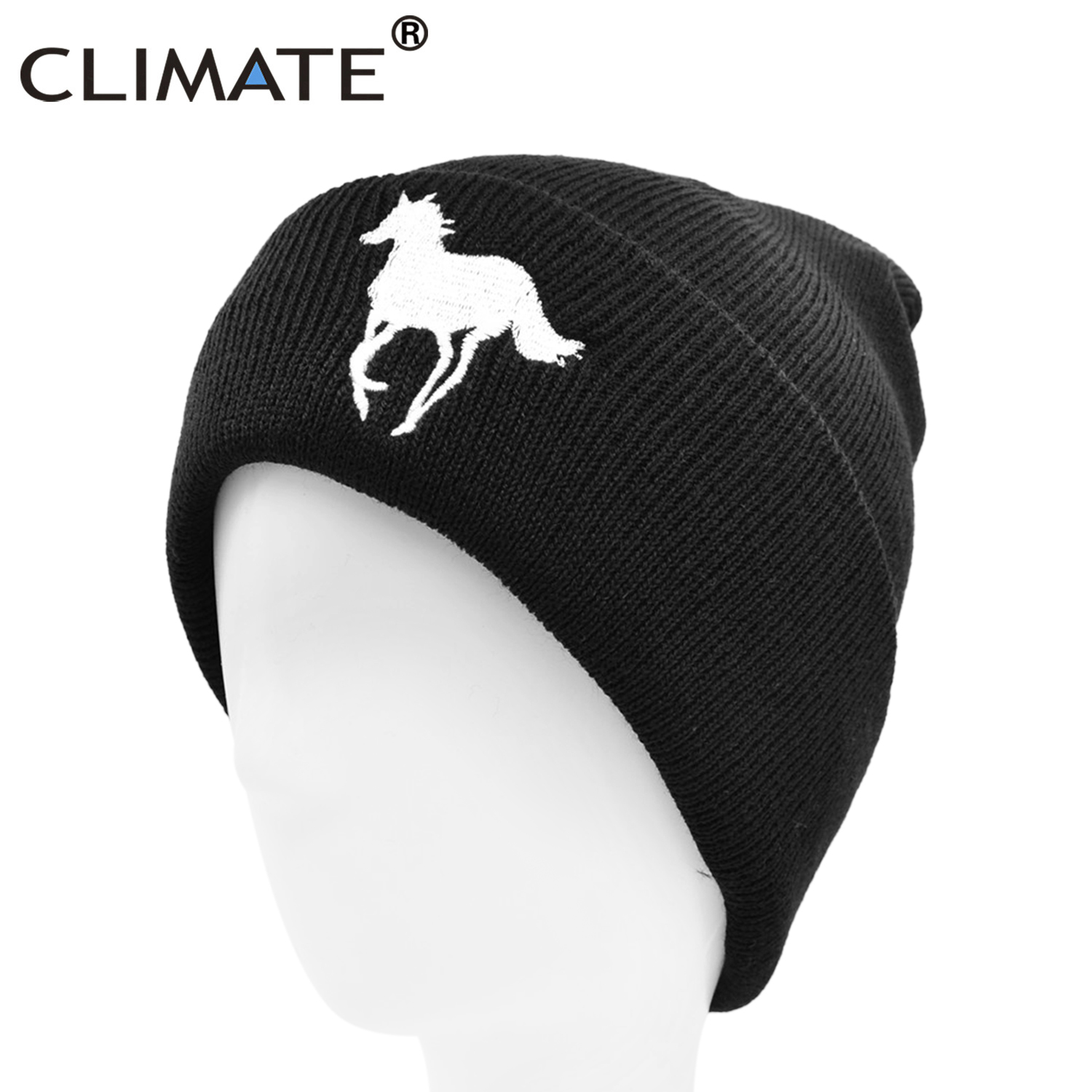 CLIMATE Men's Horse Beanie Hat Horse Winter Hat Men Steed Knight Warm Horse Racing Race Hat Skullies Beanies Knitted Beanie Hat