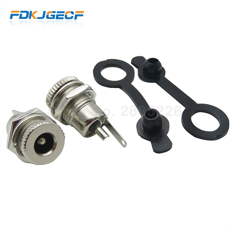 5pce/LOT DC099 5.5 Mm X 2.1mm DC Power Jack Socket Female Panel Mount Connector Metal DC-099 Open Hole 11MM 5.5*2.1 5.5*2.5