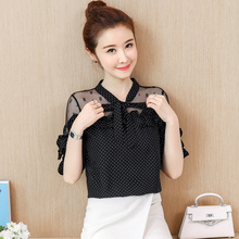COIGARSAM Short Sleeve blouse women New Summer Spring Polka Dot Lace Chiffon blusas womens tops and blouses White Black 8335 mostnica beach sexy white sheer guipure lace tops without bra plain blouse women summer batwing sleeves round neck blouses