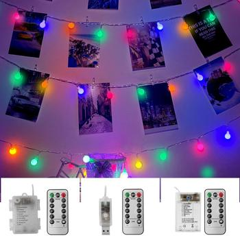5M 10M Christmas Garland Fairy LED Ball String Lights USB Powered Battery Waterproof Outdoor For Wedding Party Indoor Decoration