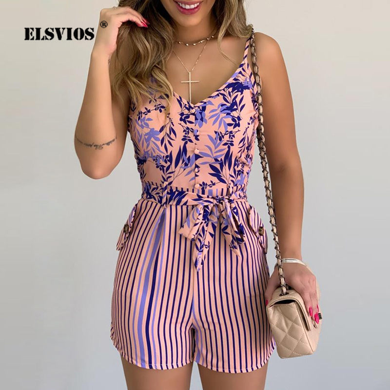 2020 Summer V-neck Floral Print Women Jumpsuit Sexy Backless Strap Beach Romper Spring Sleeveless Belted Party Playsuit Overalls
