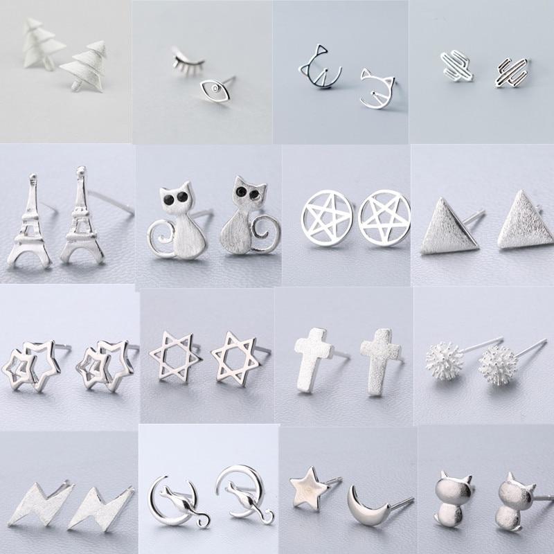 925 Solid Real Sterling Silver Piercing Cross Cat Star Heart Stud Earrings For Women Kids Brincos Pendientes Brincos