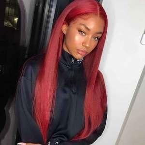 Perruque Lace Frontal Wig 370 Remy naturelle rouge   Cheveux lisses, pre-plucked, avec Baby Hair, avec partie centrale, densité 150