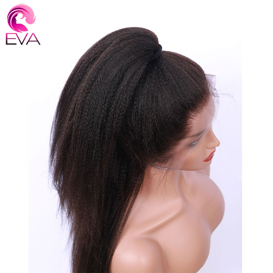 Eva 13x6 Lace Front Human Hair Wigs Pre Plucked With Baby Hair Glueless Brazilian Remy Kinky Straight Hair Wigs For Black Women