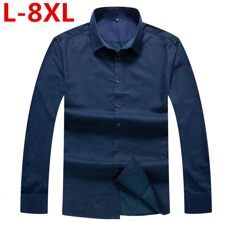 Plus Size  Men  Casual  Long Sleeved Printed Shirt Slim Fit Male Social Business Dress Shirt Brand Men Clothing Soft Comfortable