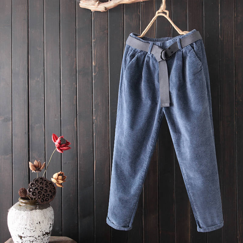 Blue Corduroy Pants Women New Autumn Winter Harem Pants With Belt Casual Sweatpants Pantalon Femme Corduroy Trousers Women C5721