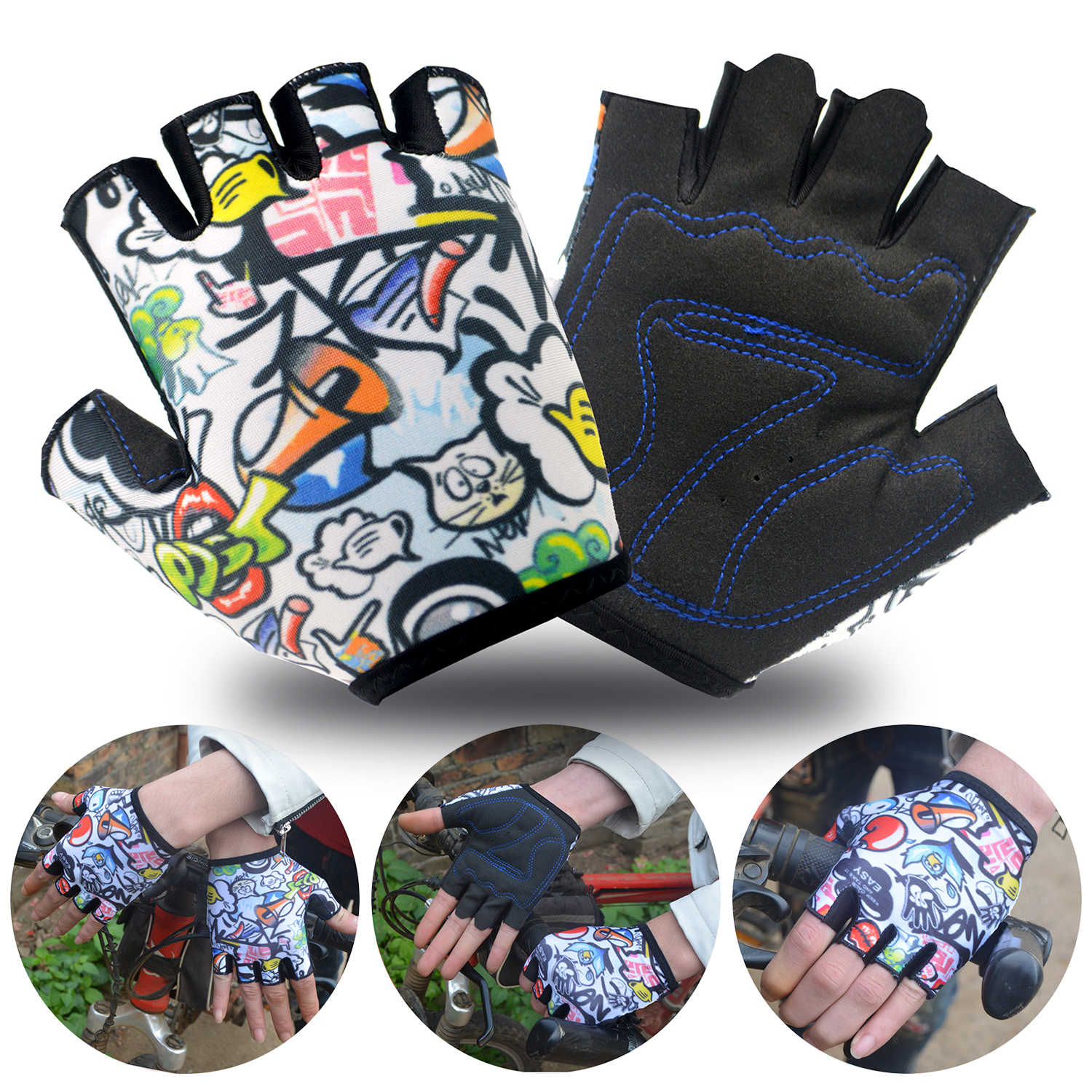 Bicycle Gloves for Kids Boys Girls Half Finger Cycling Skating Gloves
