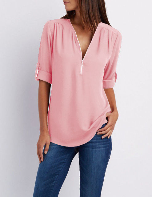 Summer Women Cool Loose Shirt Deep V Neck Chiffon Blouse Casual Ladies Tops Sexy Zipper Pullover Plus Size Long Sleeve Fashion 5