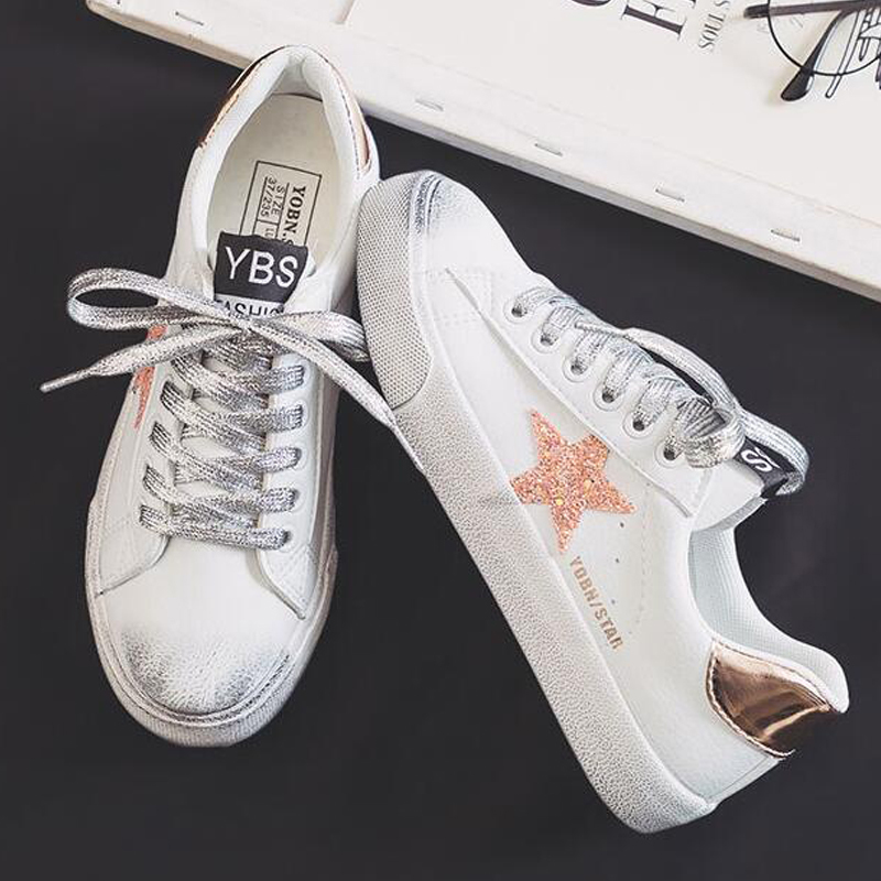 2019 White Canvas Women's Vulcanize Shoes Women For Girls Woman Elegance Autumn Ins Pu Shine Star