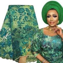 Tela de encaje africano exclusivo, tejido Raschel de 5 yardas, bordado de red nigeriano, Material de encaje para coser, tejido con lentejuelas, 2021