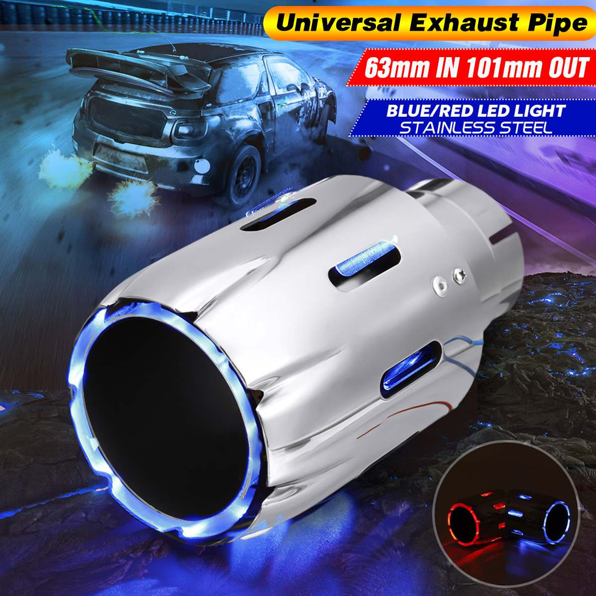 Stainless Steel Exhaust Muffler Tip 63mm IN 101mm OUT W/ Blue Red LED Light Clamp-on