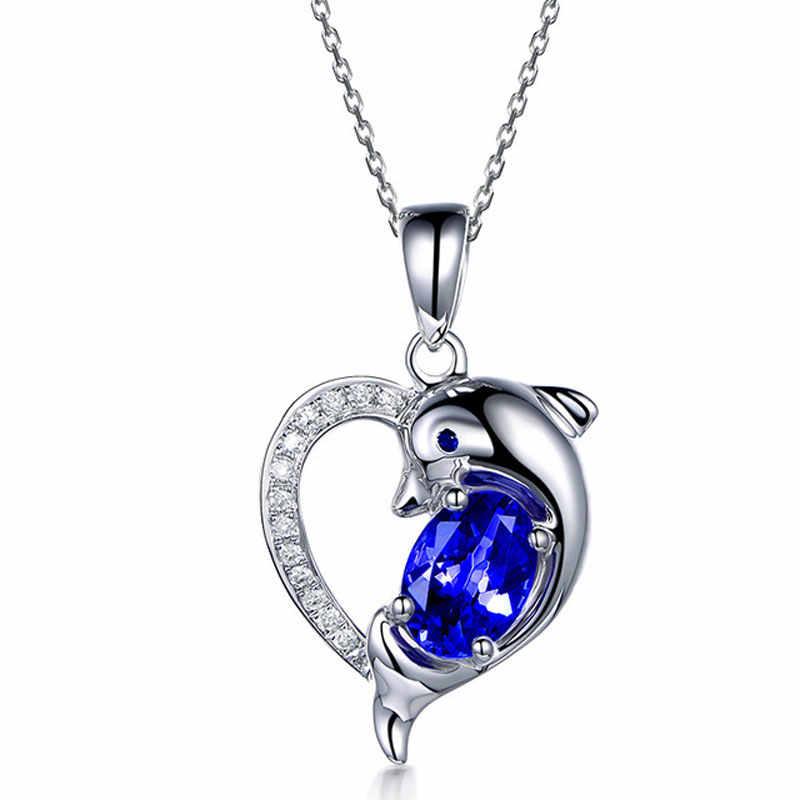 Ataullah สีฟ้าไพลินสร้อยคอ 925 เงินสเตอร์ลิงน่ารัก Dolphin สร้อยคอจี้สำหรับเครื่องประดับสตรีของขวัญ NW097