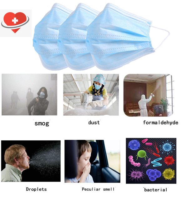 3-Layer Medical Mask Non-woven Mouth Face Mask Protective Anti-virus masks Dust flu Disposable Mask bacteria Filter mask medical 3