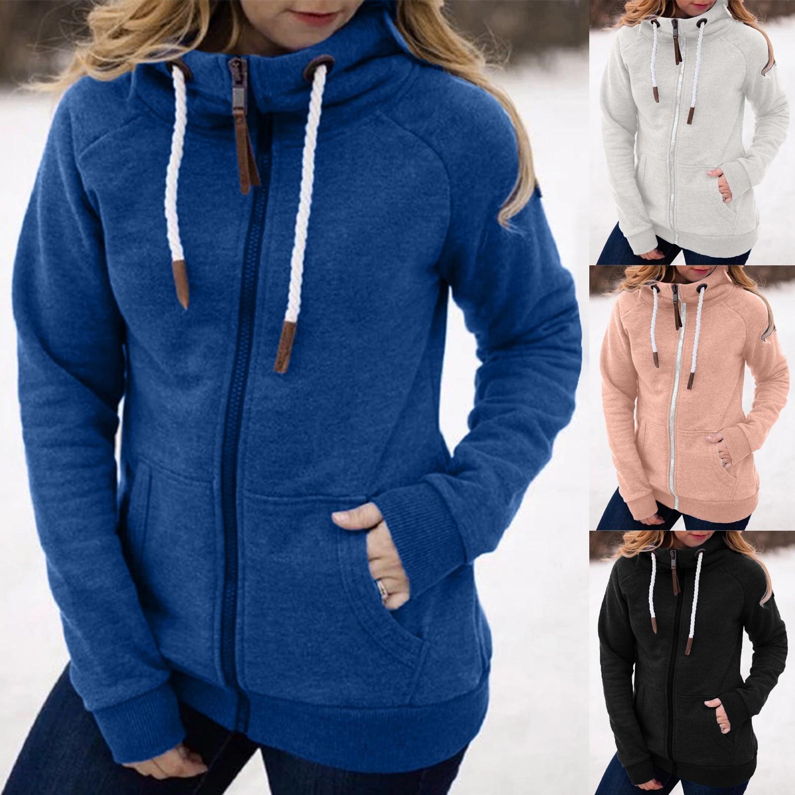 Permalink to Women Fashion Solid Jacket Zipper Pocket Sweatshirt Long Sleeve Coat Loose Solid Color Hooded Sweatshirt Платье Женское Осень