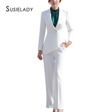 цена на SUSIELADY Women Work Pant Suit Long Sleeve Blazer Jacket & Pant One Button Office Wear Women Suits Trousers Sets