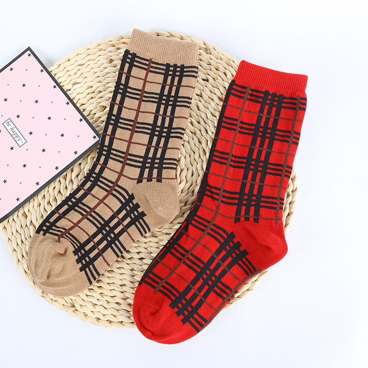 Medium-small Large Children's Socks Children Trend Tube Plaid Socks INS-Style Men And Women Children's Socks Autumn And Winter N
