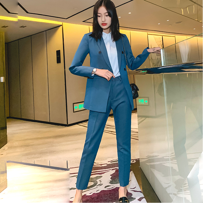 Women Blazer Suit Set  2 piece Fashion High Quality Loose Jacket Pencil Pant Formal Wear for Office Work Ladies Black Suit