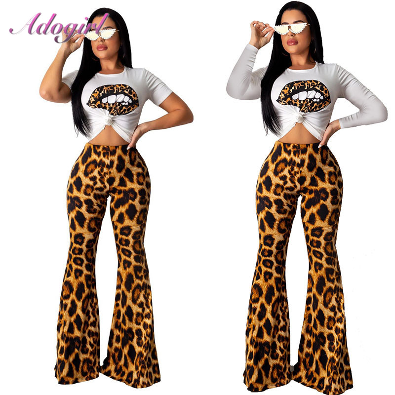 Adogirl Suit Female T-Shirt Outfit Crop-Top Flare-Pants Two-Piece-Set Long-Sleeve Leopard-Print title=
