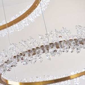 Image 5 - Modern crystal chandelier lighting for living room gold ring combination led chandeliers home decoration lustre cristal lamps